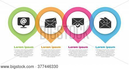 Set Mail And E-mail On Speech Bubble, Envelope, Envelope And Check Mark And Envelope. Business Infog