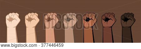 Set Of Seven Raised Fists Of Different Shades. Skin Of Different Colors, Dark Background. Vector Ill