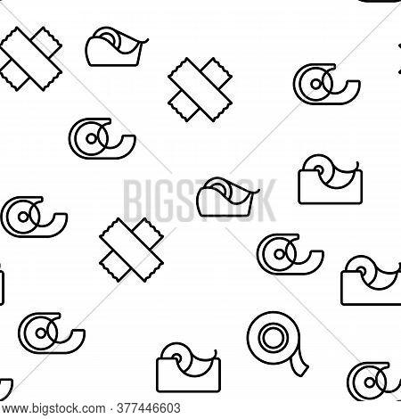 Adhesive Tape Scotch Vector Seamless Pattern Thin Line Illustration