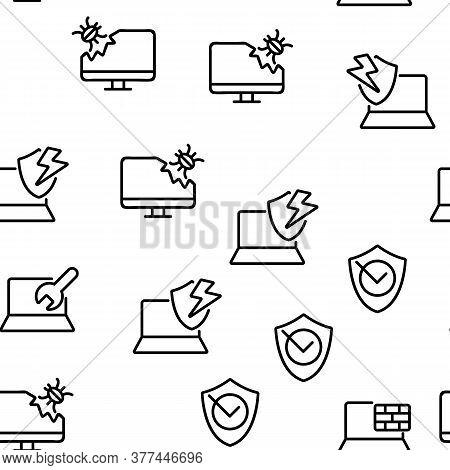 Antivirus Program Vector Seamless Pattern Thin Line Illustration