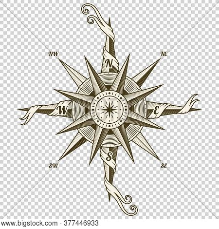 Vintage Nautical Compass. Old Vector Design Element For Marine Theme And Heraldry On Transparent Bac