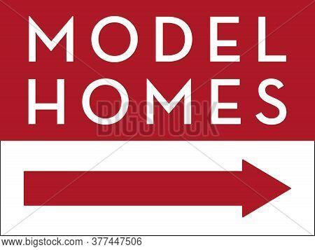 Model Homes Directional Sign   Vector Hoa & Property Management Signage   Open House Design For New