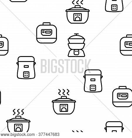 Rice Cooker Equipment Vector Seamless Pattern Thin Line Illustration