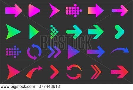 Set Of Isolated Bold Gradient Arrows On Black Background. Straight, Curved, Rounded And Dotted Arrow