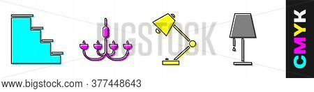 Set Staircase, Chandelier, Table Lamp And Table Lamp Icon. Vector
