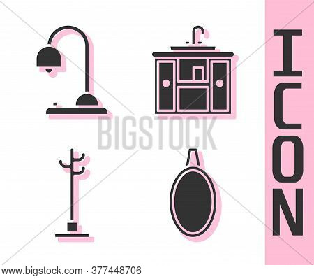 Set Mirror, Table Lamp, Coat Stand And Washbasin Cabinet With Tap Icon. Vector