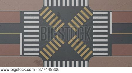 Zebra, Road Intersection Top View. Crosswalk With White And Yellow Lines Marking On Gray Asphalt And