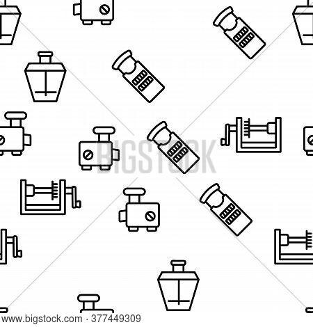 Spiralizer Kitchenware Vector Seamless Pattern Thin Line Illustration