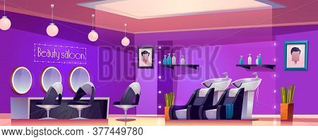 Beauty Saloon Interior, Empty Studio Room For Hair Cut And Care Procedures With Furniture Desk, Mirr