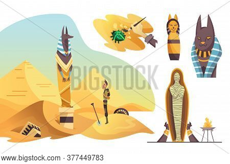 Collection Of Signs Egyptian Archaeology. Various Cultural Symbols Of Egyptian Architecture And Cult