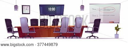 Conference Room For Business Meetings, Training And Presentation In Company Office. Vector Cartoon I