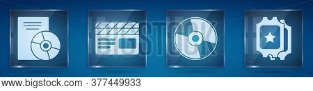 Set Cd Or Dvd Disk, Movie Clapper, Cd Or Dvd Disk And Cinema Ticket. Square Glass Panels. Vector