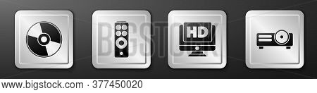 Set Cd Or Dvd Disk, Remote Control, Monitor With Hd Video And Movie, Film, Media Projector Icon. Sil