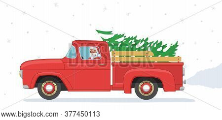 Christmas Banner. Santa Claus Rides In Old Red Retro Pickup With Christmas Tree. Vintage Flat Vector