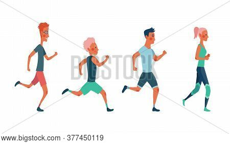 Men And Women Running Marathon Race. Group Of People Dressed In Sports Clothes. Participants Of Athl