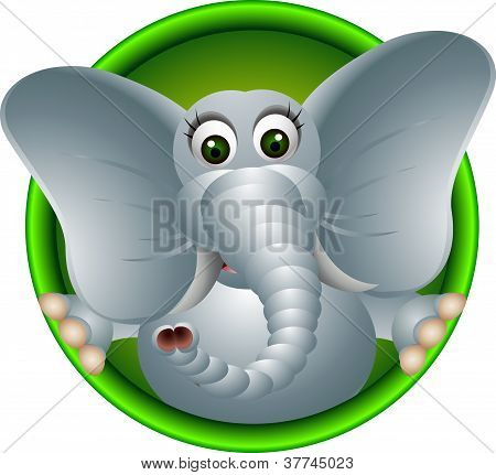 cute elephant head cartoon