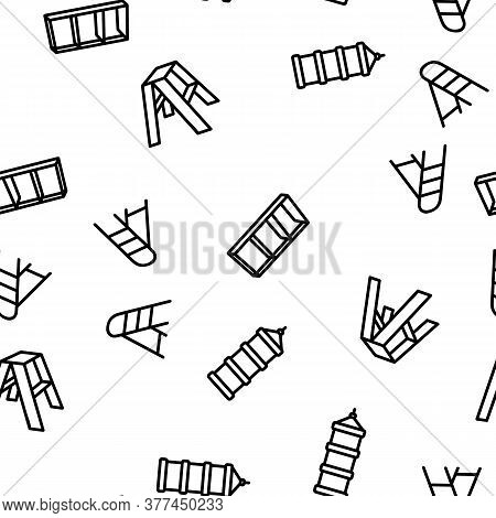 Ladder And Staircase Vector Seamless Pattern Thin Line Illustration
