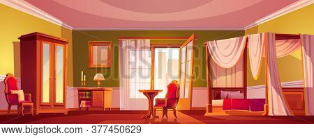 Luxury Old Bedroom Interior At Morning Or Day Time. Empty Light Room With Wooden Furniture And Gold