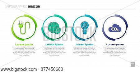Set Electric Plug, Earth Globe And Leaf, Light Bulb With Leaf And Co2 Emissions In Cloud. Business I