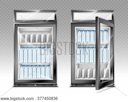 Mini Refrigerator With Water Bottles And Beverages, Fridge With Advertising Digital Display And Tran