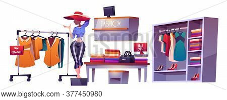 Fashion Store, Cloth Shop Interior Stuff Mannequin, Clothing Shelves, Table With Discount Production