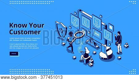 Know Your Customer Banner. Concept Of Identification Bank Client, Analysis Risk And Trust Business,