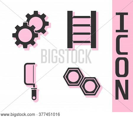 Set Hexagonal Metal Nut, Gear, Hacksaw And Wooden Staircase Icon. Vector