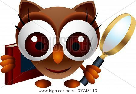 cute owl with magnifying glass