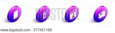 Set Isometric Eraser Or Rubber, Paint Spray Can, Text And Picture Landscape Icon. Vector