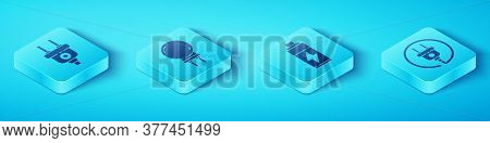 Set Isometric Electric Plug, Light Emitting Diode, Electric Plug And Battery Icon. Vector