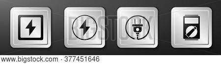 Set Lightning Bolt, Lightning Bolt, Electric Plug And Multimeter Icon. Silver Square Button. Vector