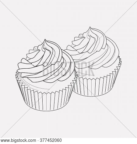 Two Cupcakes Icon Line Element. Vector Illustration Of Two Cupcakes Icon Line Isolated On Clean Back