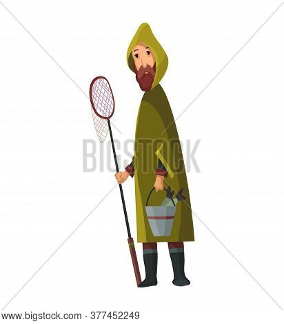 Bearded Man With Fish Net And A Bucket In His Hands. Caught Fish In A Bucket. Fisher In Raincoat. Su