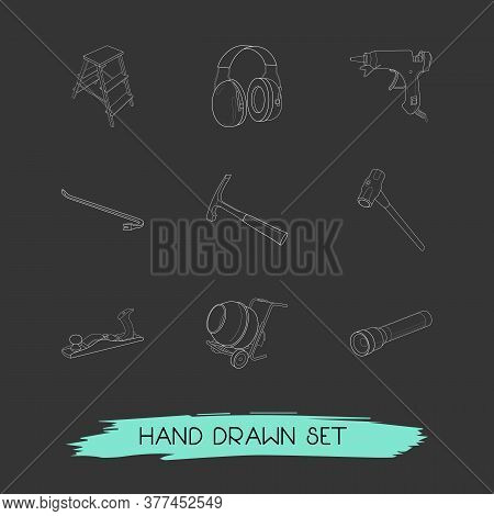 Set Of Construction Icons Line Style Symbols With Jack Plane, Crowbar, Flashlight And Other Icons Fo