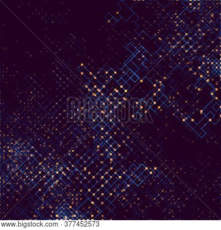 Abstract Composition Of Fading Lines And Dots. Stranger Walker Modeling. Generative Art. Vector Desi