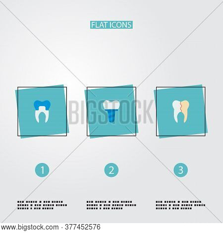 Set Of Dental Icons Flat Style Symbols With Reconstruction, Implant, Alumina And Other Icons For You