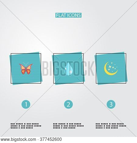 Set Of Nature Icons Flat Style Symbols With Moonlight, Butterfly, Drop And Other Icons For Your Web