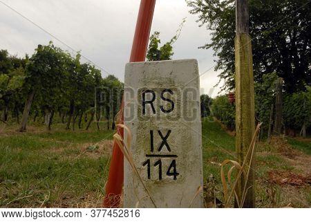 A Boundary Stone At The Austrian Slovenian State Border, Eu