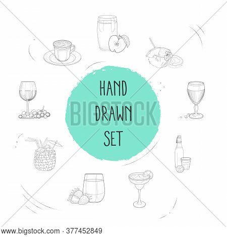 Set Of Bar Menu Icons Line Style Symbols With Kambucha, Mocha, Fresh Juice And Other Icons For Your