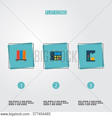Set Of Bureau Icons Flat Style Symbols With Coffee Maker, Telephone, Bookshelf And Other Icons For Y