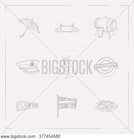 Set Of Uk Signs Icons Line Style Symbols With British Soldier Hat, Barrel Of Beer, British Undergrou