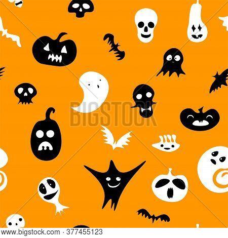 Seamless Happy Halloween Pattern. Black White Ghost, Pumpkin, Skeleton, Skulls On Orange Background.