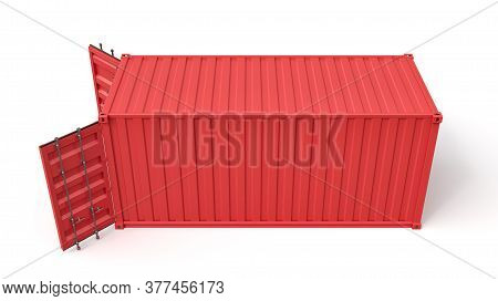 3d Rendering Of Open Red Shipping Container Isolated On White Background