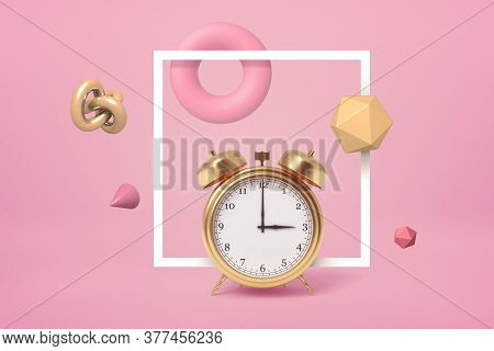 3d Rendering Of Golden Alarm Clock Standing, Highlighted With Square White Frame, On Pastel Pink Bac