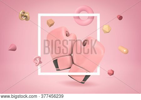 3d Rendering Of Pink Boxing Gloves With Random Objects On Pink Background