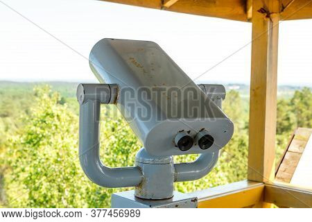 Fixed Viewing Binoculars On The Observation Platform On The Curonian Spit In The Kaliningrad Region