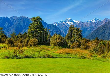 The highest peak of New Zealand, Mount Cook and Mount Tasman is covered in snow and glaciers. Great fields, forests and hills. South Island of New Zealand. Wonderful summer day