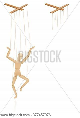 Puppet On Strings. Marionette Control Bar With Intact And Broken Strings. Torn Cords As A Symbol For