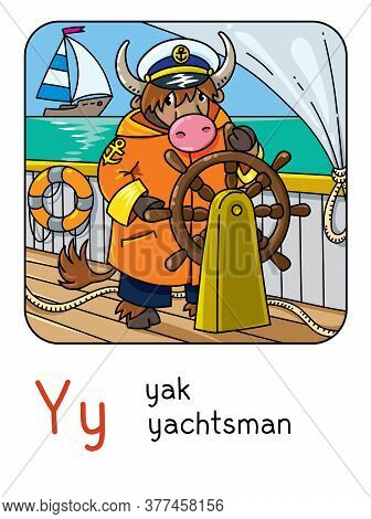 Yak Yachtsman. Animals Profession Abc. Alphabet Y