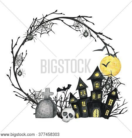 Halloween Holiday Party Frame With Castle, Skull, Bat, Spider, Moon. Watercolor Cartoon Illustration